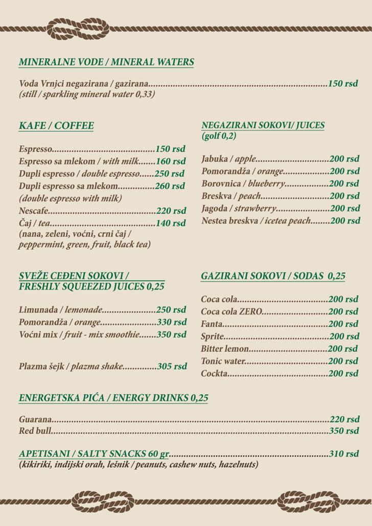 Karta pića za redovna krstarenja