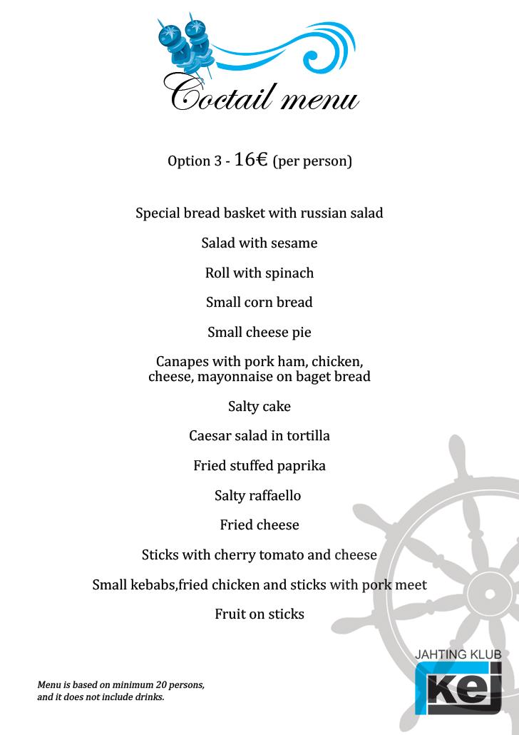 Coctail menu - 16 eur