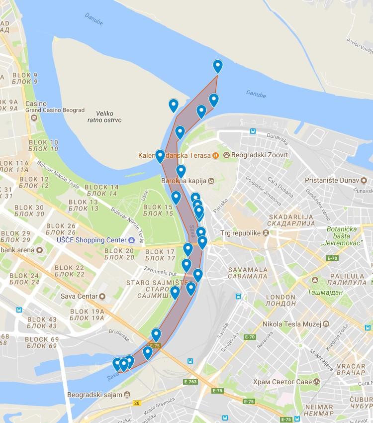Mapa Krstarenja 1 Jahting Klub Kej
