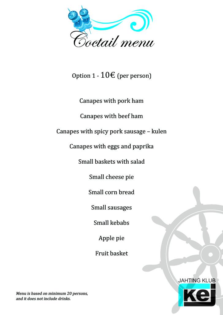 Coctail menu - 10 eur