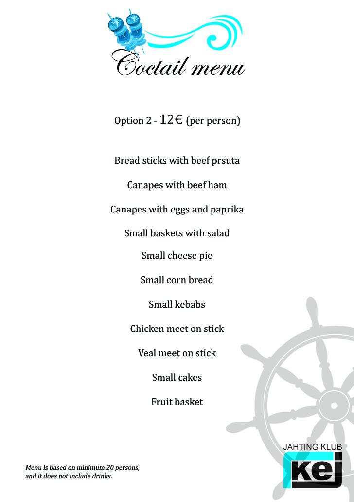 Coctail menu - 12 eur