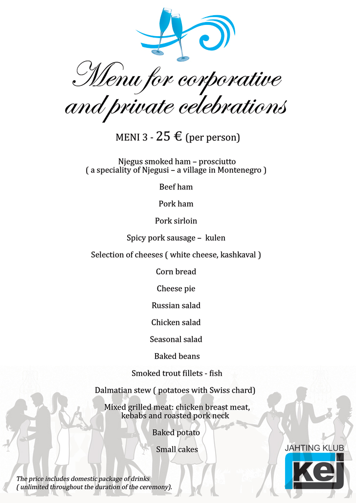 Check out our menu for corporate events and private celebrations in Belgrade on boat - 25 euro per person.