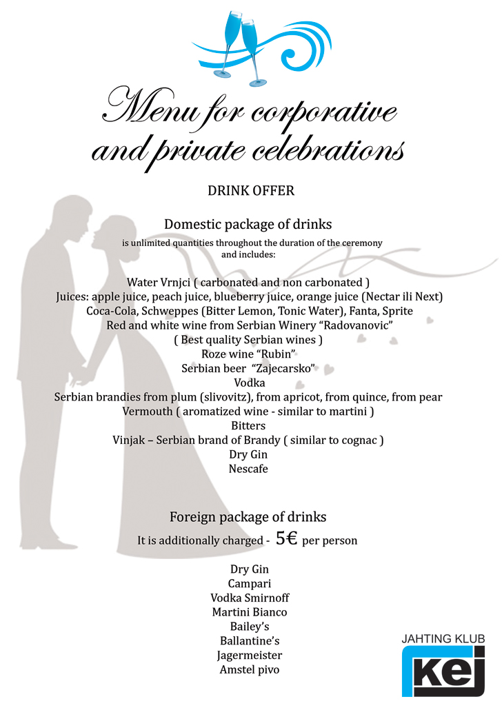 Menu for corporate events and private celebrations in Belgrade on boat - all inclusive drink packages.